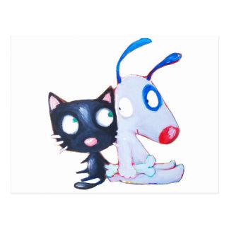 perro y gato postales