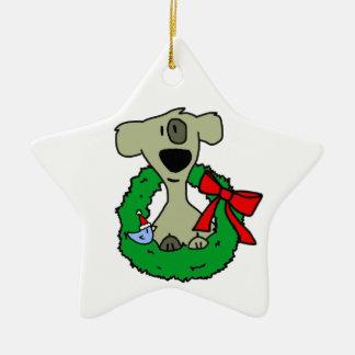 Perro y guirnalda adorno de cerámica en forma de estrella