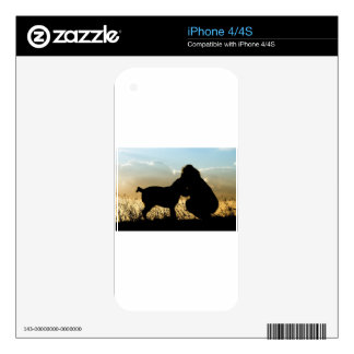 Perro y mujer en puesta del sol calcomanía para iPhone 4S