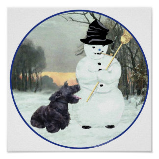 Perro y muñeco de nieve del escocés póster