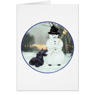 Perro y muñeco de nieve del escocés tarjeta pequeña