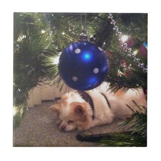 Perro y ornamento del navidad teja cerámica