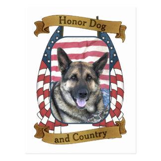 Perro y país del honor postal