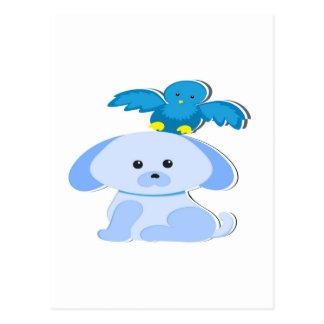 Perro y pájaro azules postal