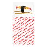 Perro y palillos del sushi tarjetas personales con fotos