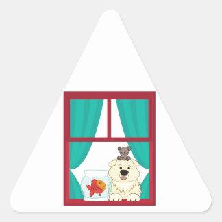 Perro y pescados calcomanía trianguladas personalizadas
