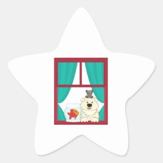 Perro y pescados pegatina forma de estrella personalizadas