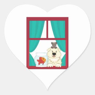 Perro y pescados calcomanías corazones