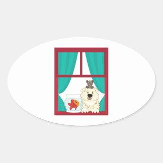Perro y pescados calcomanía de oval personalizadas