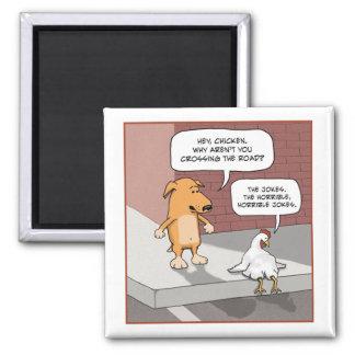Perro y pollo lindos y divertidos imán cuadrado