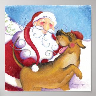 Perro y Santa/poster Póster