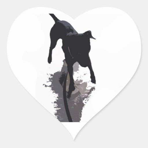 perro y sombra posterized pegatina en forma de corazón