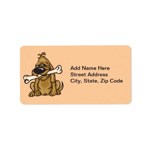 Perro y su hueso etiqueta de dirección