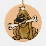 Perro y su hueso ornamento para arbol de navidad