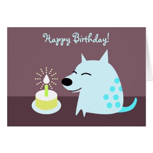 Perro y torta de cumpleaños azules tarjeta pequeña