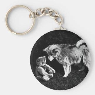 Perro y un oso llavero redondo tipo pin