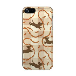 perros afortunados con el fondo de las salchichas carcasa de iphone 5 incipio feather shine