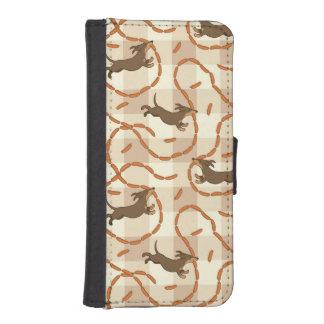 perros afortunados con el fondo de las salchichas cartera para iPhone 5