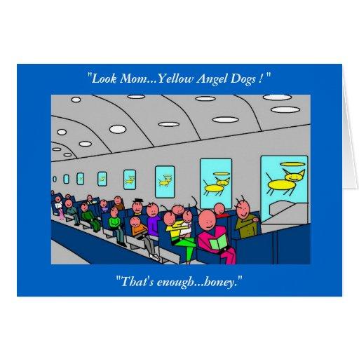 Perros amarillos del ángel felicitación