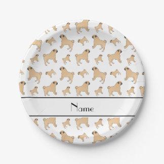 Perros blancos conocidos personalizados del barro plato de papel de 7 pulgadas