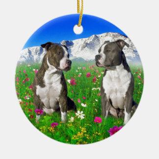 Perros Brindle y azules de Staffordshire y del Ornamentos De Reyes
