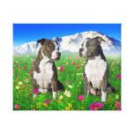 Perros Brindle y azules de Staffordshire y del pit Impresion De Lienzo
