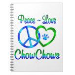 Perros chinos de perro chino del amor de la paz libro de apuntes