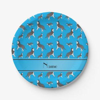 Perros conocidos personalizados del husky platos de papel