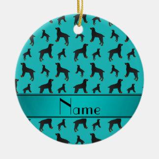 Perros conocidos personalizados del perro de aguas adorno navideño redondo de cerámica