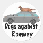 Perros contra Romney Pegatina Redonda