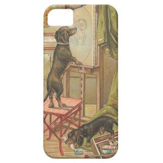 Perros dañosos del vintage que juegan el illus - i iPhone 5 funda
