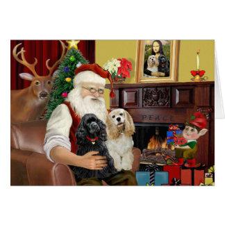 Perros de aguas de cocker de Santa en casa - (dos) Tarjeton
