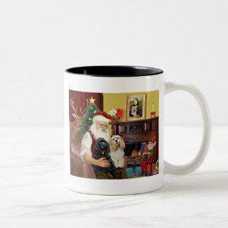 Perros de aguas de cocker de Santa en casa - (dos) Taza De Café