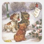Perros de Caroling en la nieve Calcomanías Cuadradases