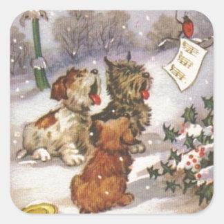 Perros de Caroling en la nieve Pegatina Cuadrada