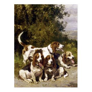 Perros de caza - arte del perro del vintage de Cha Tarjetas Postales