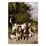 Perros de caza - arte del perro del vintage de tarjetón