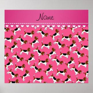 Perros de caza rosados conocidos personalizados póster