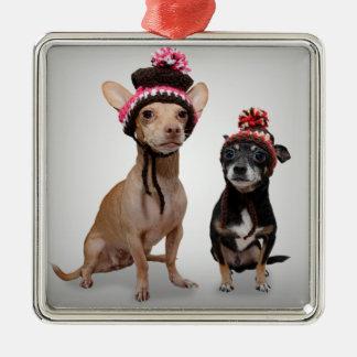 Perros de la chihuahua con la foto de los gorras adorno navideño cuadrado de metal