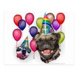 Perros de la fiesta de cumpleaños postal