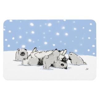 Perros de la nieve de Keesie - Keeshond feliz con Imanes De Vinilo