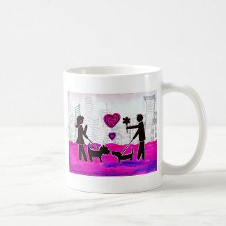 perros de la tarjeta del día de San Valentín Taza
