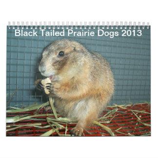 Perros de las praderas atados negro - calendario 2