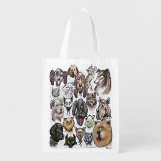 Perros de los gatos n bolsas reutilizables