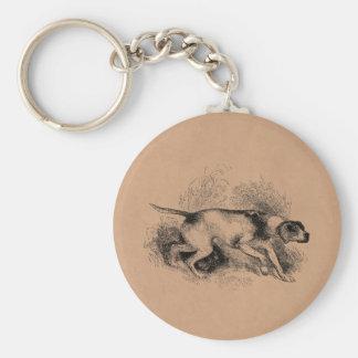 Perros de los indicadores de los 1800s del perro d llavero redondo tipo pin
