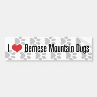 Perros de montaña de I corazón Bernese Pegatina De Parachoque