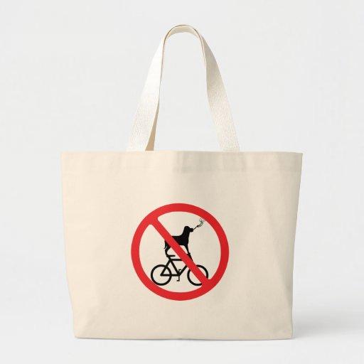 Perros de no fumadores en las bicis bolsa de tela grande