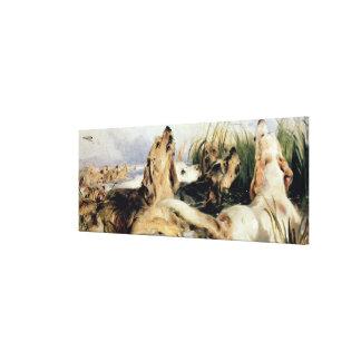 Perros de nutria impresión en lienzo estirada