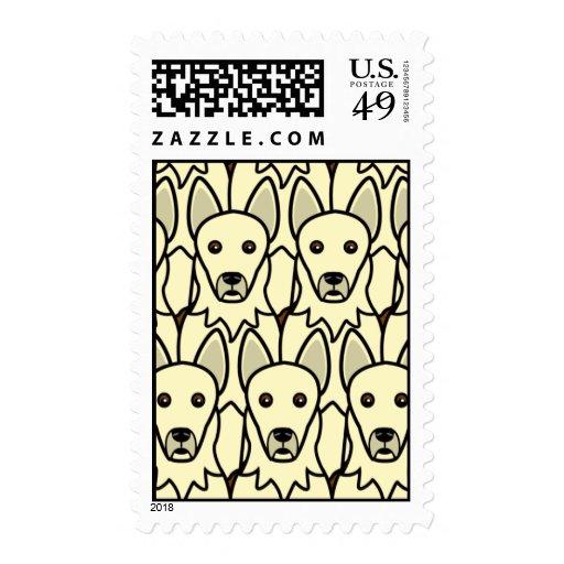 Perros de pastor alemán blancos estampillas
