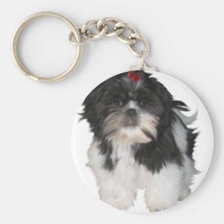 Perros de perrito de Shitzu Shih Tzu Llavero Redondo Tipo Pin